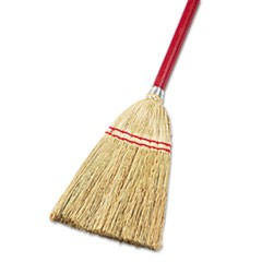 "Lobby/Toy Broom, Corn Fiber Bristles, 39"" Wood Handle, Red/Yellow, 12/Carton"