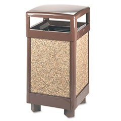Aspen Series Hinge Top Receptacle, Square, Steel, 29 gal, Brown