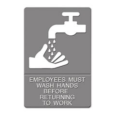 ADA Sign, EMPLOYEES MUST WASH HANDS... Tactile Symbol/Braille, 6 x 9, Gray