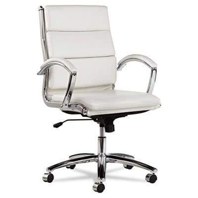 Alera Neratoli Mid-Back Swivel/Tilt Chair, White Faux Leather, Chrome Frame