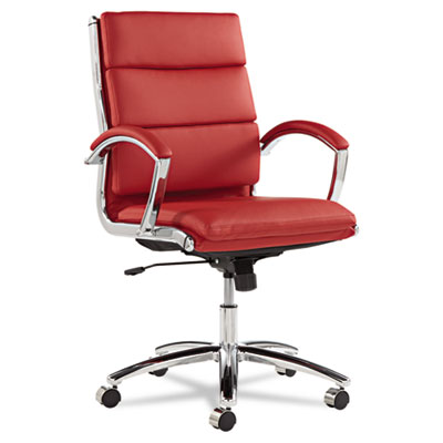 Alera Neratoli Series Mid-Back Swivel/Tilt Chair, Red Soft Leather, Chrome Frame