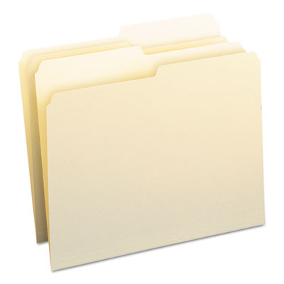 File Folders, 1/2 Cut, One-Ply Top Tab, Letter, Manila, 100/Box