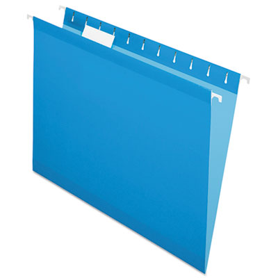 Pendaflex Colored Reinforced Hanging Folders, Letter Size, 1/5-Cut Tab, Blue, 25/Box