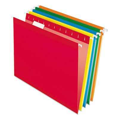 Pendaflex Colored Reinforced Hanging Folders, Letter Size, 1/5-Cut Tab, Assorted, 25/Box