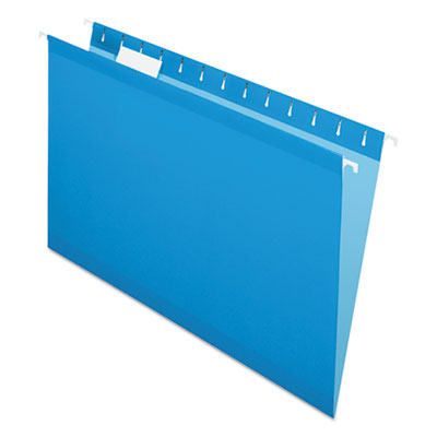 Pendaflex Colored Reinforced Hanging Folders, Legal Size, 1/5-Cut Tab, Blue, 25/Box