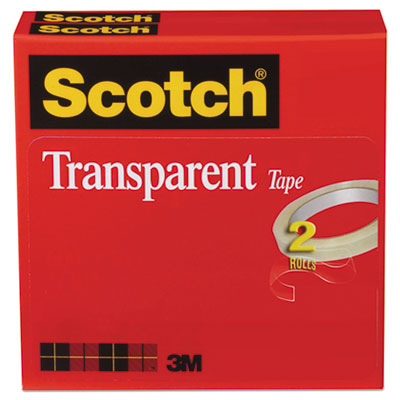 Scotch Transparent Tape, 3  Core, 0.75  X 72 Yds, Transparent, 2/Pack