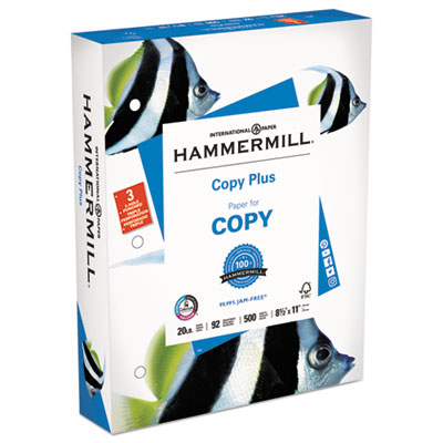 Copy Plus Print Paper, 92 Bright, 3-Hole, 20lb, 8.5 x 11, White, 500/Ream