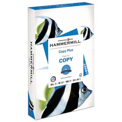 Copy Plus Print Paper, 92 Bright, 20lb, 8.5 x 14, White, 500/Ream