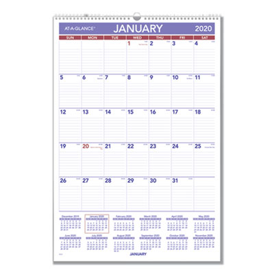Monthly Wall Calendar with Ruled Daily Blocks, 15 1/2 x 22 3/4, White, 2020