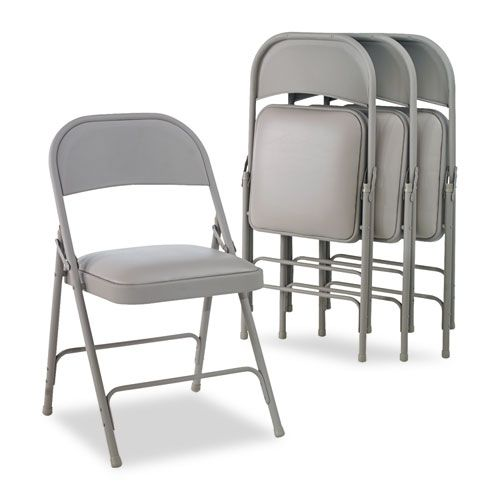 Steel Folding Chair with Two-Brace Support, Padded Seat, Light Gray, 4/Carton
