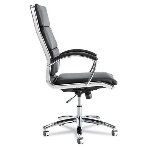 Alera Neratoli Series High-Back Swivel/Tilt Chair, Black Leather, Chrome Frame