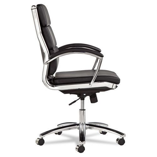 Alera Neratoli Series Mid-Back Swivel/Tilt Chair, Black Leather, Chrome Frame