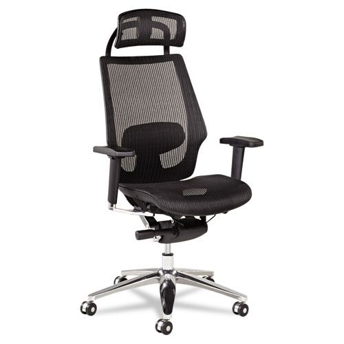 Alera K8 Series Ergonomic Multifunction Mesh Chair, Aluminum Base/Frame, Black