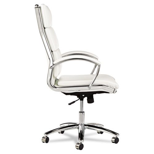 Alera Neratoli Series HighBack Swivel/Tilt Chair,White Faux Leather,Chrome Frame