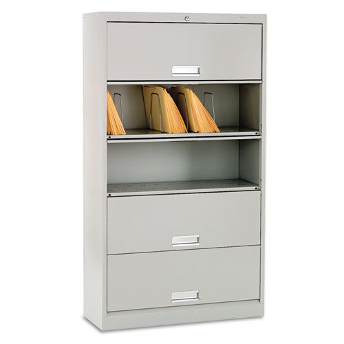 600 Series Five-Shelf Steel Receding Door File, 36w x 13-3/4d x 64-1/4h, Gray