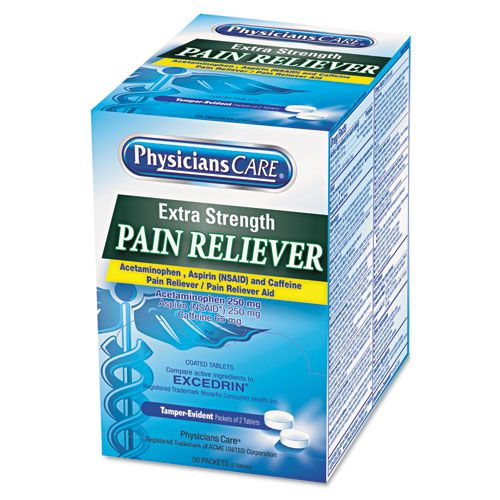 Extra-Strength Pain Reliever, Two-Pack, 50 Packs/Box