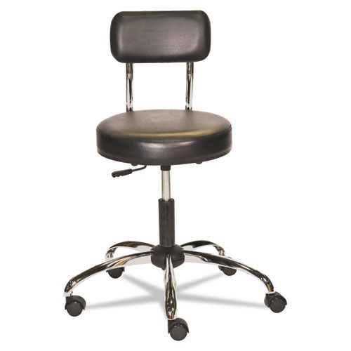 HL Series Height-Adjustable Stool with Back, Black