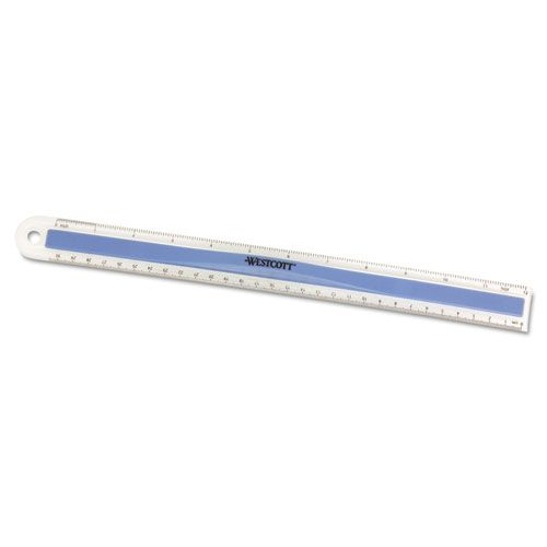 Plastic Ruler with Rubber Finger Grip, 12in/30cm, Assorted Translucent