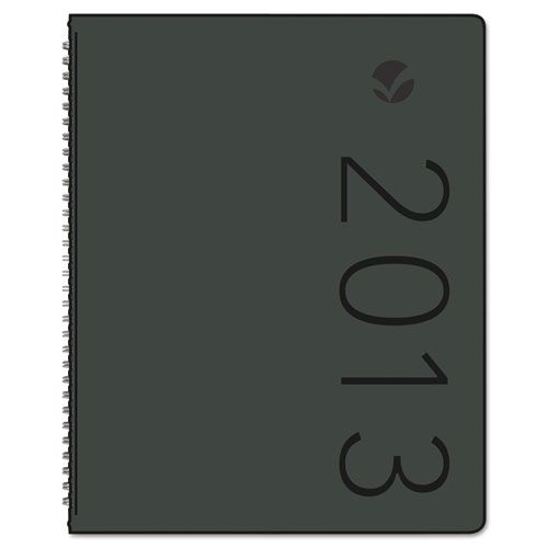 Contemporary Monthly Planner, 6 7/8 x 8 3/4, Black Cover, 2018