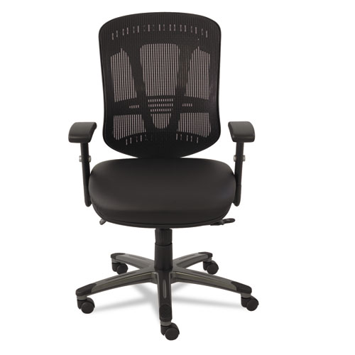 Multifunction Mid-Back Leather/Mesh Chair, Black