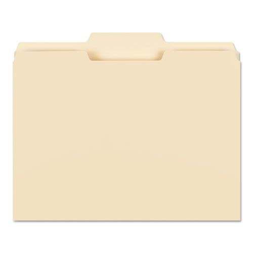 File Folders, 1/3 Cut Second Position, One-Ply Top Tab, Letter, Manila, 100/Box