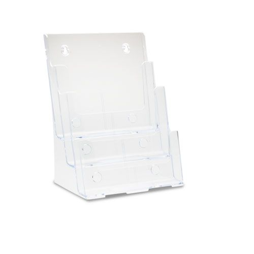 Multi Compartment DocuHolder, 3 Compartments, 9 1/2w x 6 1/4d x 12 5/8h, Clear