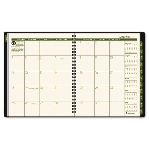 Recycled Monthly Planner, 6 7/8 x 8 3/4, Black, 2018