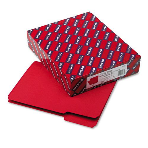 Interior File Folders, 1/3 Cut Top Tab, Letter, Red, 100/Box