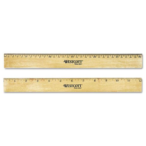 Flat Wood Ruler w/Two Double Brass Edges, 12