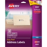 "Avery® Matte Clear Address Labels, Sure Feed(TM) Technology, Inkjet, 1"" x 2-5/8"", 750 Labels (8660)"