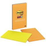 Post-it Super Sticky Notes, 5 in x 8 in, Rio de Janeiro Color Collection, Lined