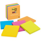 Post-it Super Sticky Notes, 4 in x 4 in, Rio de Janeiro Color Collection, Lined