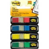 "Post-it® Flags, 1/2"" Wide, Assorted Primary Colors, 140/Pack"