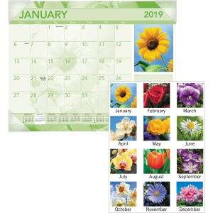 At-A-Glance Antique Floral Monthly Desk Pad