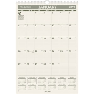 At-A-Glance 100% PCW Monthly Wall Calendar