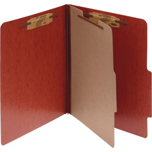 ACCO® PRESSTEX® 4-Part Classification Folders, Letter, Red, Box of 10