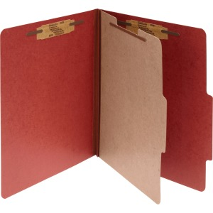 ACCO® Pressboard 4-Part Classification Folders, Letter, Red, Box of 10