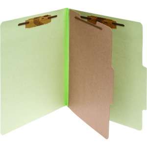 ACCO® Pressboard 4-Part Classification Folders, Letter, Green, Box of 10