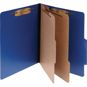 ACCO® ColorLife® PRESSTEX® 6-Part Classification Folders, Letter, Dark Blue, Box of 10