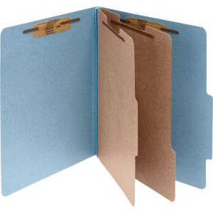 ACCO® Pressboard 6-Part Classification Folders, Legal, Sky Blue, Box of 10