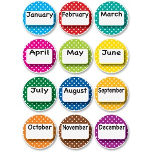 Ashley Dotted Border Months Die-cut Magnets