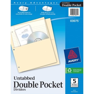 Avery® Untabbed Double Pocket Dividers