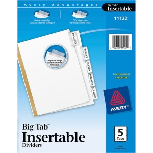 Avery&reg Big Tab White Insertable Dividers - Gold Reinforced