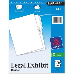 Avery&reg Premium Collated Legal Exhibit Divider Sets - Avery Style
