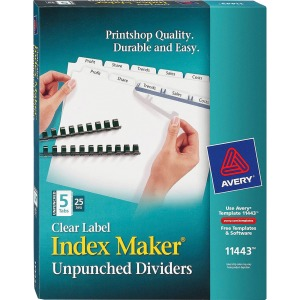 Avery&reg Index Maker Print & Apply Clear Label Dividers with White Tabs - Unpunched