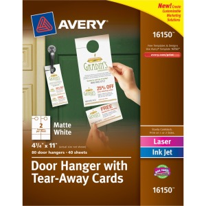 Avery&reg Door Hanger with Tear-Away Cards