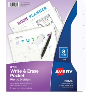 Avery® Write & Erase Pocket Plastic Dividers