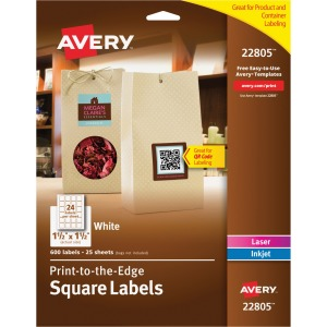 Avery® White Print-to-the-Edge Square Labels with TrueBlock Technology