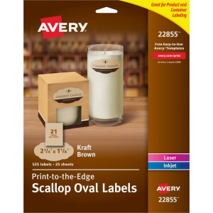 Avery® Kraft Brown Scalloped Labels