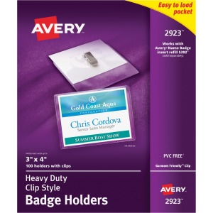 Avery® Heavy-Duty Badge Holders - Clip Style